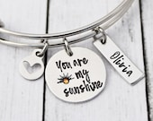 You Are My Sunshine Bracelet - Gift for Her - Bangle Bracelet - Charm Bracelet - You are my sunshine jewelry - Custom - Hand Stamped-Crystal