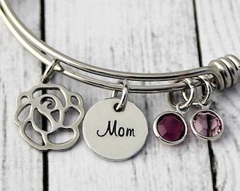 Personalized Bracelet - Mothers Bracelet - Birthstone Bangle - Adjustable - Mom - Nana - Gigi - Gift for Mom - Gift for Grandma - Rose