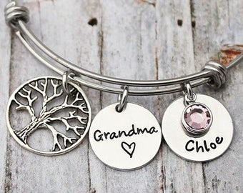 Family Tree Bracelet - Personalized Charm Bangle - Names - Birthstones - Adjustable - Mother's Day - Gift for Grandma - Gift for Mom