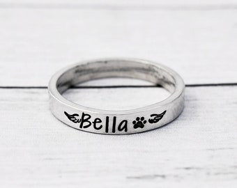 Pet Memorial Ring Loss of Pet Dog Mom Skinny Stacking Ring Small Winged Paw Print Ring Adjustable Minimalist Cat Mom