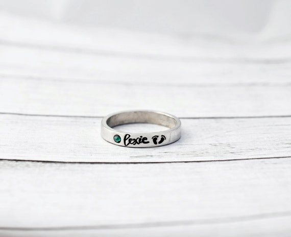Stacking Rings Mom Name Ring Stackable Ring Mother/'s Ring Name and Birthstone Ring Butterfly Ring Grandma Personalized Gift