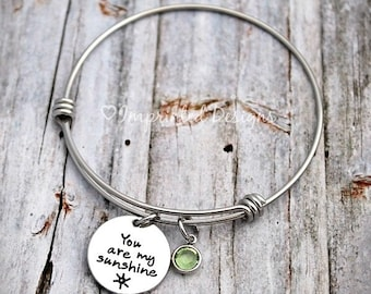You Are My Sunshine - Charm Bracelet - Family Tree - Mother Bracelet - Personalized - Adjustable  - Hand Stamped Jewelry - Mom - Grandma