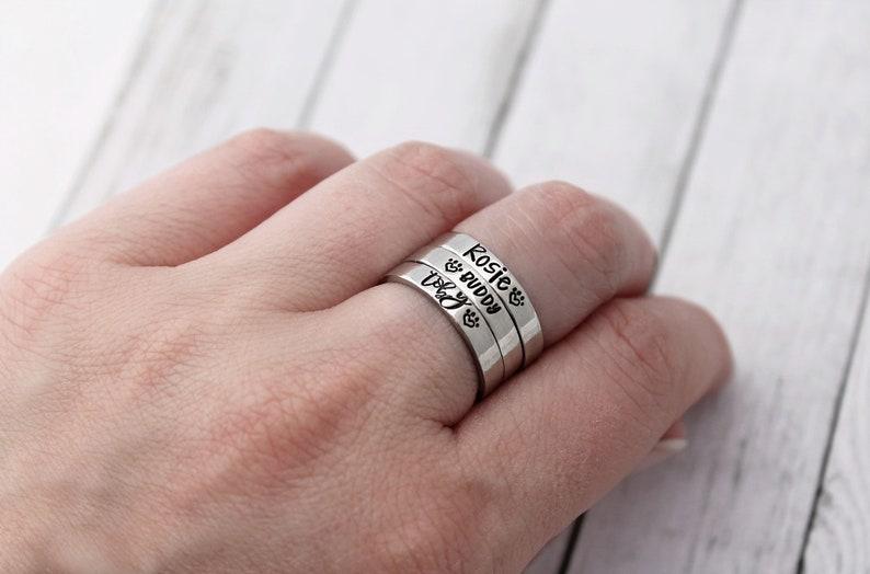 Skinny Ring Cat Name Ring Organic-Non-Tarnish Pet/'s Name Ring Dog Name Ring Personalized Stacking Ring Paw Print Ring Pet Ring