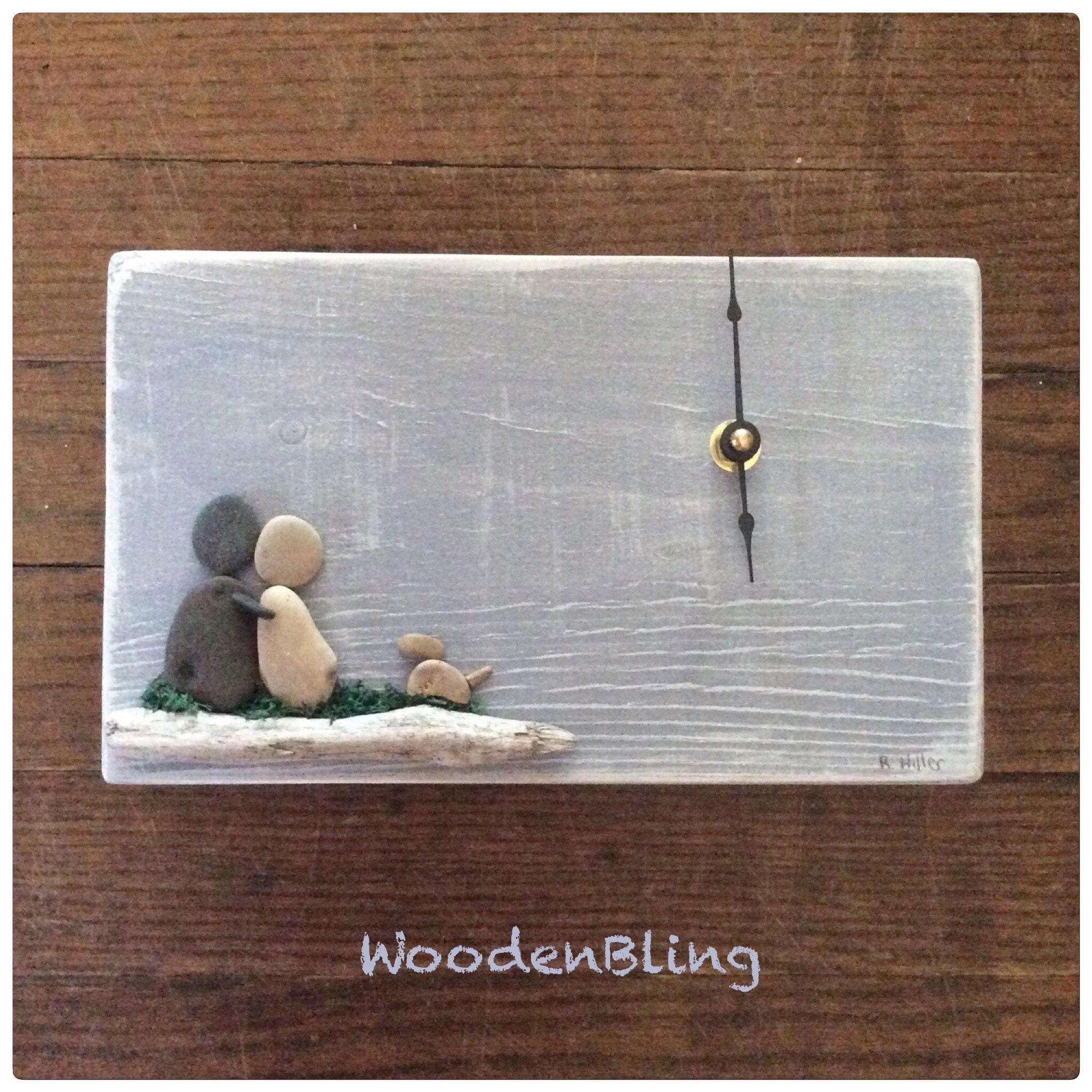 Pebble Art Personalized Wedding Gift Clock Reclaimed Wood