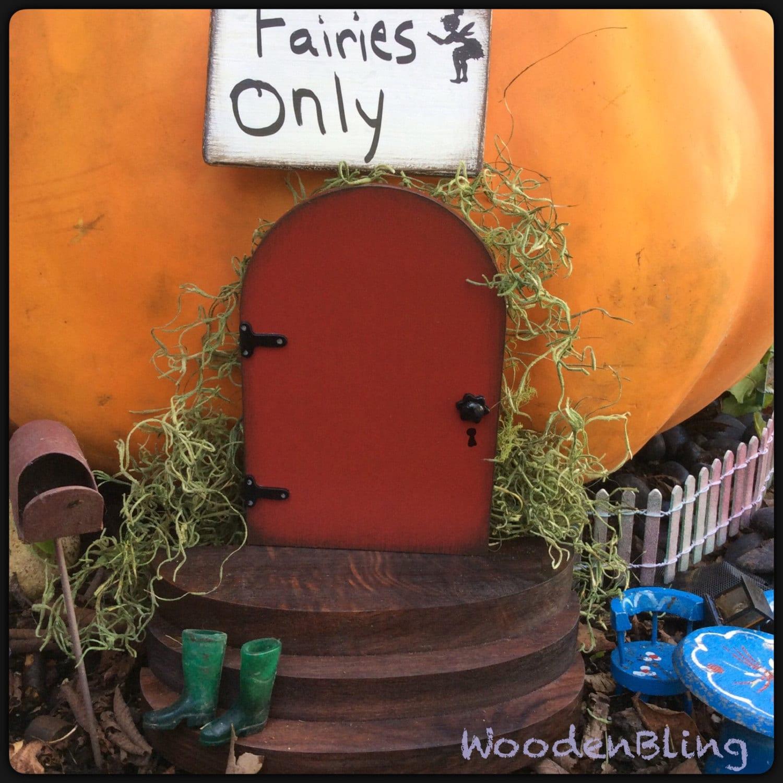 Red Fairy Door Fairy Garden Fall Garden Fairy Door Miniature