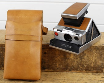 Vintage Polaroid SX-70 Land Camera with Camera Case Brown   Silver Camera  with Camera Case Rare Old Camera Sold As-Is 8a689f3f999
