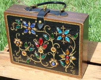Vintage 1960s Enid Collins Jewel Garden Box Bag Purse Handbag Attached Round Mirror EC The Original Box Bag Wood Wooden Blue Green Red Gold