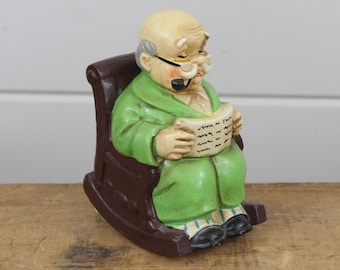 Vintage Old Man Rocking Music Box, Price Imports Japan, Rocks Motion When Playing, Grandpa Grandfather Father, Brown Green, Rocking Chair