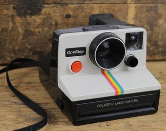 Polaroid One Step Instant Land Camera with Rainbow Stripe, White and Black, Strap, Uses SX-70 Film, Retro Camera, Vintage Polaroid, Stripe