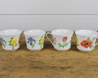 Collection 4 Vintage Coffee Mugs, Primavera Taste Setter by Sigma, 379, Made in Japan, White Floral Flowers, Vintage Mug Cup, Ceramic, Old