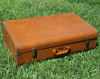 Vintage Large Brown Maximillian Suitcase Luggage Big Case Display Storage Repurpose Repair Fix Broken Gold Accents Aged Older Old Suitcase