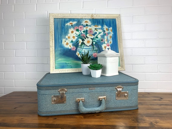 Vintage Towncraft Blue Suitcase Old Blue Luggage