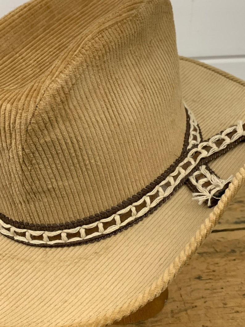 Size Small Western Wear Cowgirl Hat Vintage Light Brown Corduroy Cowboy Hat