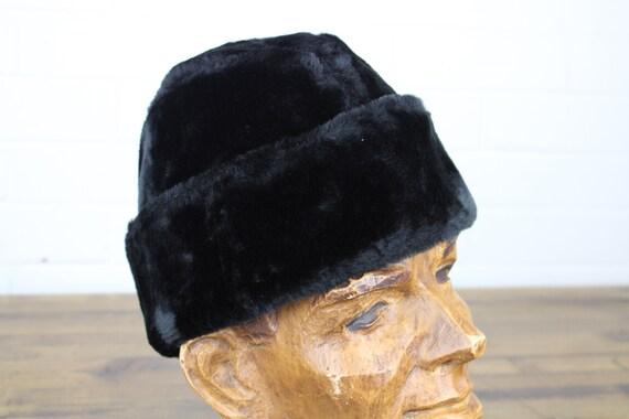 Vintage Furry Black Hat, Winter Hat, German Europe