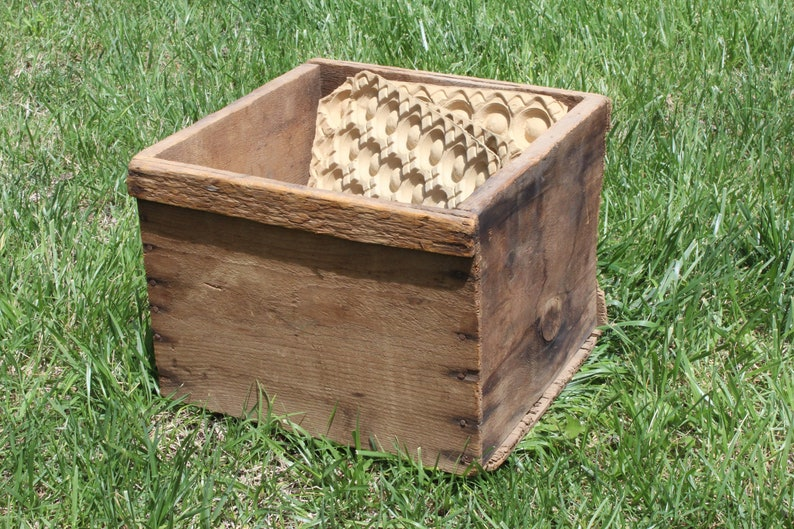 Old Wooden Square Crate Wooden Egg Box Aged Rustic Decor With 3 Cardboard Egg Holders