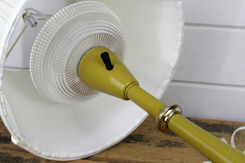Working Mustard Yellow Metal Lamp with Shade Vintage Lamp