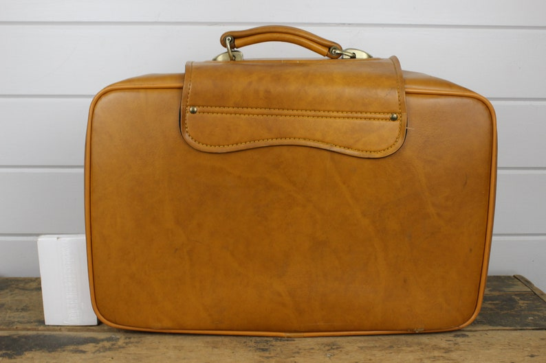 Vintage Tan Suitcase with Flap Buckle /& Fabric Front Kickass Suitcase! Soft Sides