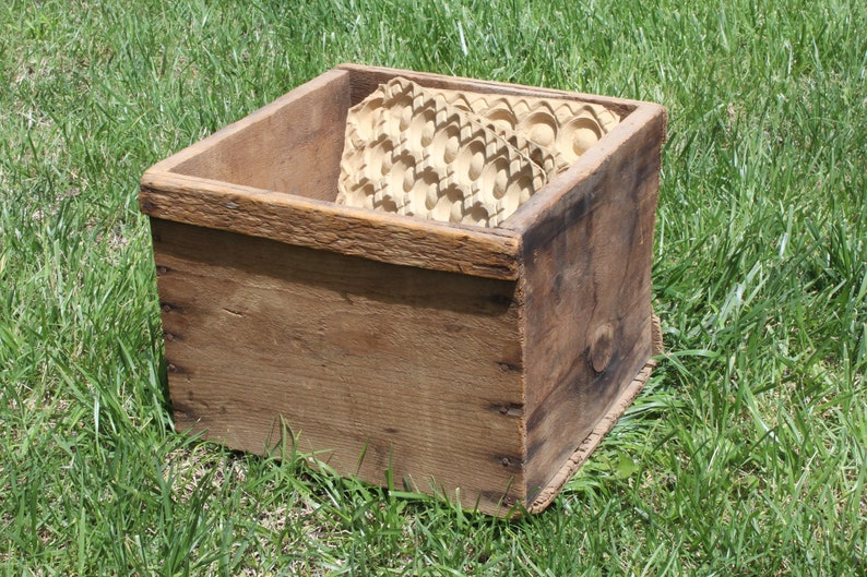 Vintage Wood Egg Crate Wooden Box Aged Rustic Decor With 3 Etsy