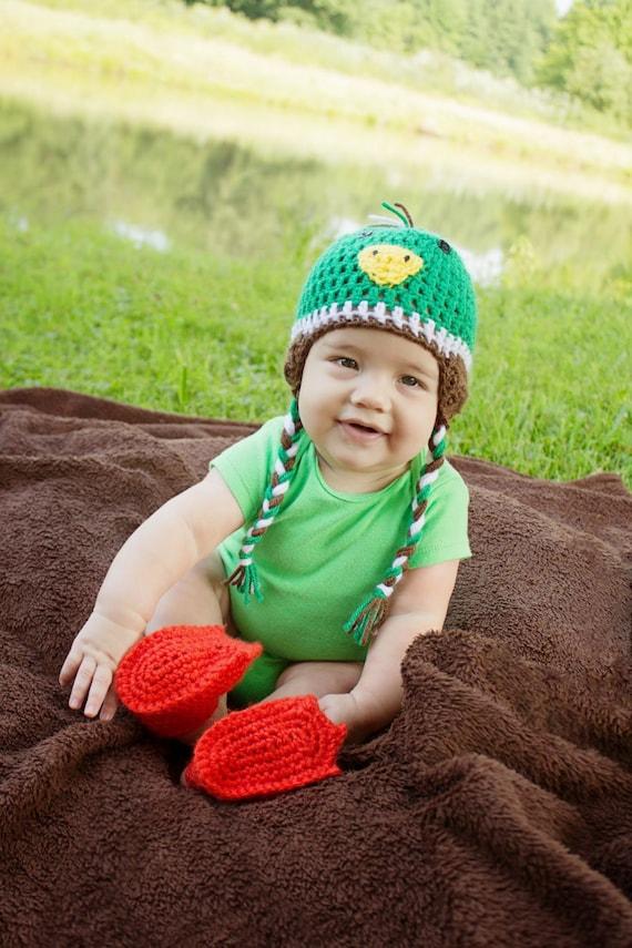 trapper child baby Mallard duck crochet hat winter infant newborn toddler