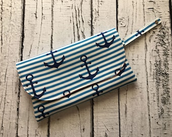Anchors Away DIAPER CLUTCH - small diaper bag, stroller bag, diaper purse, baby shower gift, clutch, diaper clutch with changing pad