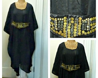 61ebf6b9abf Black Kuchi Caftan Boho Chic Dress Midi or Maxi Gold Metallic Long Kaftan  Swimsuit Cover Up Womens Beach One Size Cotton