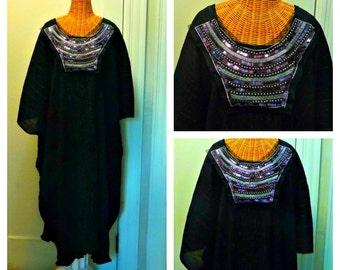 49a0dbfa8e2 Black Dress Purple Silver Metallic Sequin Bohemian Cleopatra Caftan Midi  Kaftan Swimsuit Cover Up Womens Beach Plus Size Cotton