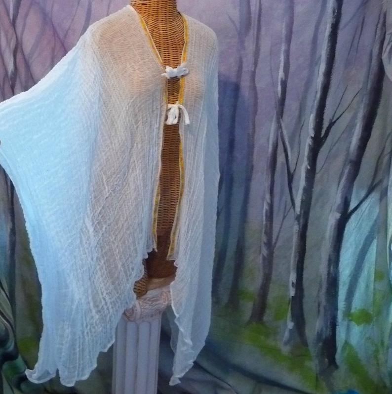 d7630948e4 Boho Ribbon Kimono Robe Ibiza Coverup Boho Beach White   Etsy