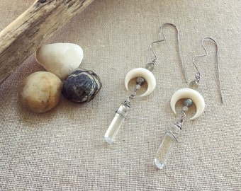 Bone earrings. Crescent moon earrings. Quartz crystals. Boho jewelry. Geometric jewelry. Festival fashion. Gypsy jewelry. Boho chic.