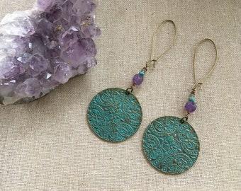 Verdigris dangle earrings. Floral. Amethyst. Gemstone earrings. Statement earrings. Boho jewelry. Gypsy earrings. Boho earrings.