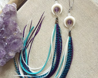 Long colorful feather earrings. Bone jewelry. Festival fashion. Crescent moon earrings. Gemstone jewelry. Boho jewelry. Gypsy jewelry. Boho.