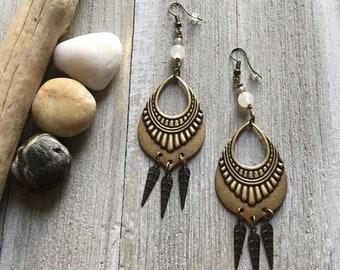 Bronze chandelier earrings. Gemstone earrings. Gypsy earrings. Boho earrings. Statement earrings. Tribal earrings.