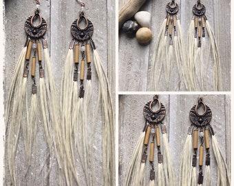 Long feather earrings. Tribal jewelry. Boho jewelry. Festival fashion. Gypsy jewelry. Feather jewelry. Statement earrings. Gemstone jewelry.