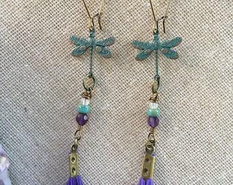Purple feather earrings. Verdigris dragonfly earrings. Gemstone earrings. Feather jewelry. Festival fashion. Gypsy jewelry. Boho jewelry.
