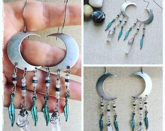 Silver moon earrings. Chandelier earrings. Gemstone earrings. Boho jewelry. Gypsy earrings. Festival fashion. Boho style. Feather earrings.