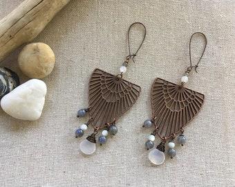Art Deco style dangle earrings. Chandelier earrings. Gemstone earrings. Vintage inspired. Statement earrings. Earrings. Statement jewelry.