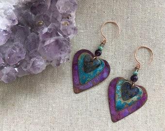 Verdigris heart charm dangle earrings. Gemstone jewelry. Heart earrings. Rustic jewelry. Patina. Amethyst. Shabby chic. Funky jewelry. Cute.