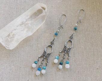 Art Deco chandelier gemstone dangle earrings. Gemstone jewelry. Moonstone. Apatite. Gemstones. Statement earrings.