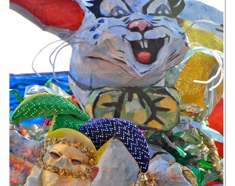 At the Mardi Gras Bunny Float Photograph
