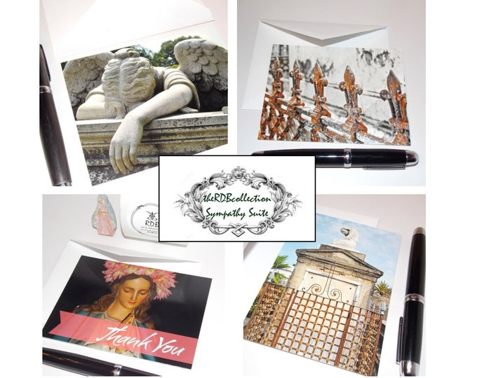 Sympathy Cards Assortment - Weeping Angel, Fleur de Lis Fence, Mary, New Orleans Tomb
