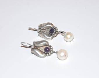 Amethyst Earrings - Southern Inspired - Amethyst, Pearl & Sterling - Freshwater Pearl and Purple - Pearl Drop on Amethyst Sterling Earwire