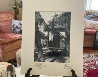 Hut on the Beach Photo Matted and Signed Small Art
