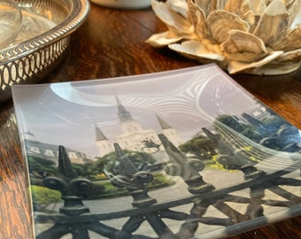 St. Louis Cathedral Fused Art Glass Dish