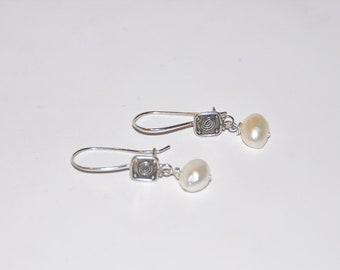 Modern Twist Pearl and Silver French Earwire Earrings