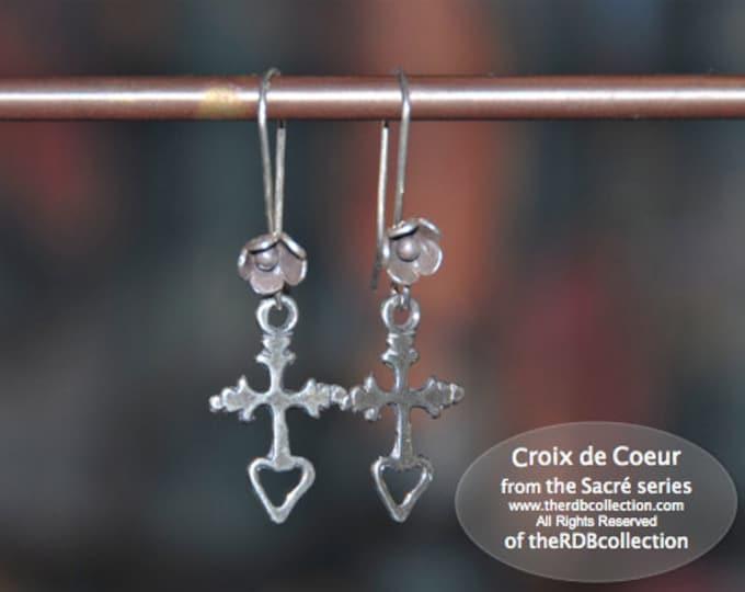 Sterling Cross Earrings - Croix de Coeur