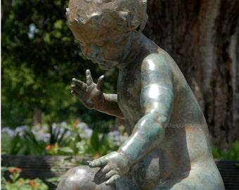 Child Statue Fountain Photo - New Orleans Audubon Park - Garden Art - theRDBcollection - Renee Dent Blankenship