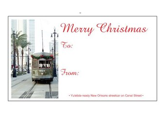 Christmas Streetcar Gift Tags - Holiday Gift Wrap Tags - theRDBcollection