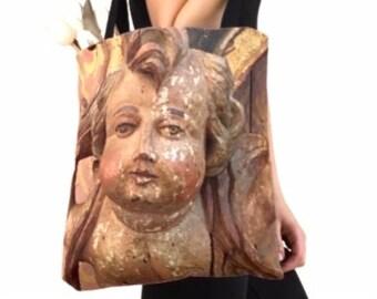 Cherub Tote - Book Bag- Market Bag - Reusable Tote - Angel Bag - theRDBcollection