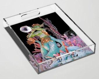 Triton Blows His Horn Acrylic Tray - Greek Mythology - Carnival Tray - Decorative Tray- Entertaining - Serving Tray - theRDBcollection