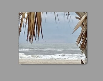 Under a Palm Tree Canvas - Beach Waves - Renee Dent Blankenship - theRDBcollection