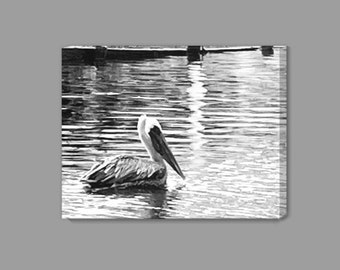 Pelican in Black and White Canvas